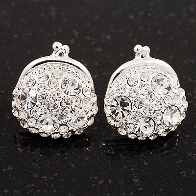 Clear Crystal 'Purse' Stud Earrings In Silver Tone Metal - 15mm Diameter