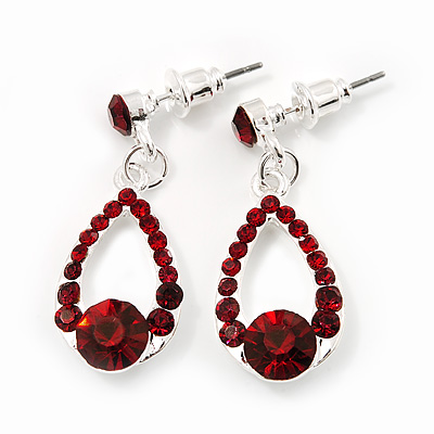 Burgundy Red Crystal Teardrop Silver Tone Earrings - 3cm Length