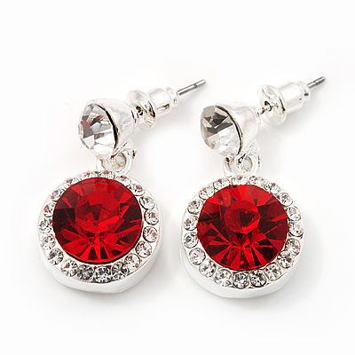 Round Red/Clear Crystal Stud Earring In Silver Metal - 2.5cm Drop