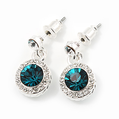 Round Teal/Clear Crystal Stud Earring In Silver Metal - 2cm Drop
