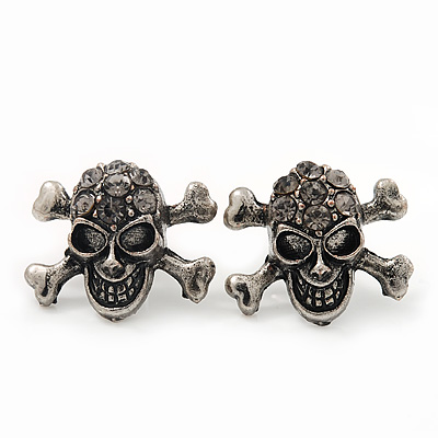 Small Burn Silver Diamante 'Skull & Crossbones' Stud Earrings - 12mm Length