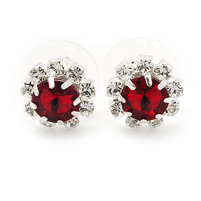 Small Red/Clear Diamante Stud Earrings In Silver Finish - 10mm Diameter