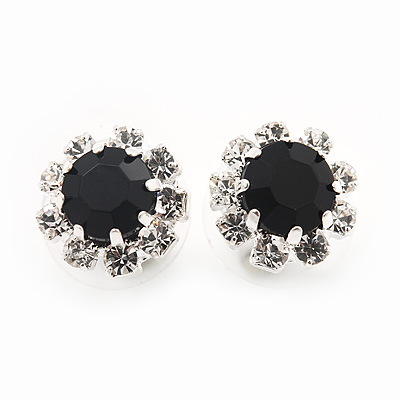 Small Black/Clear Diamante Stud Earrings In Silver Finish - 10mm Diameter