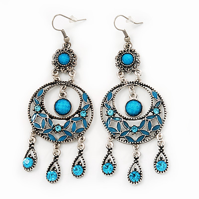 Burn Silver Turquoise Enamel Crystal Chandelier Earrings - 9cm Drop