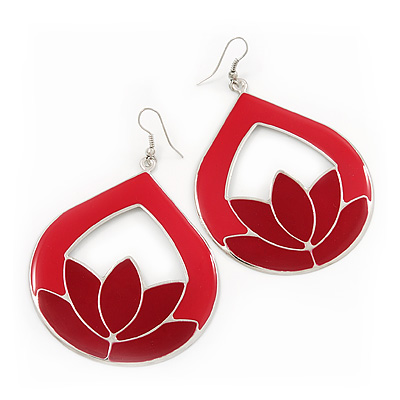 Hoop Earrings on Red Enamel Teardrop Hoop Earrings In Silver Finish   8cm Length   Main