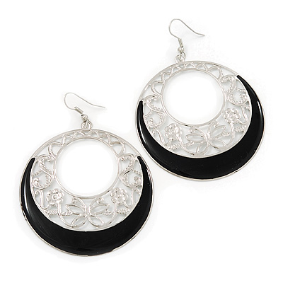 Silver Tone Black Enamel Cut Out Hoop Earrings - 7.5cm Drop - main view
