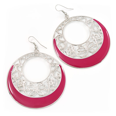 Silver Tone Pink Enamel Cut Out Hoop Earrings - 7.5cm Drop