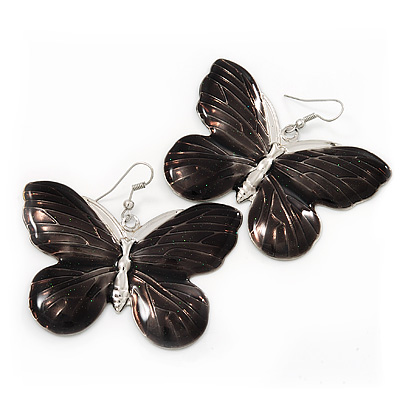 Large Black Enamel 'Butterfly' Drop Earrings In Silver Finish - 5cm Length
