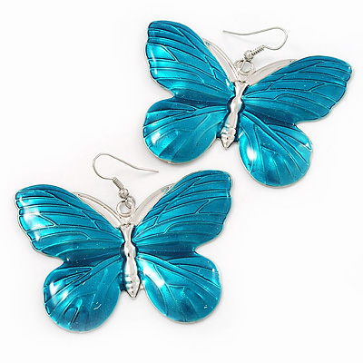 Large Turquoise Enamel 'Butterfly' Drop Earrings In Silver Finish - 5cm Length