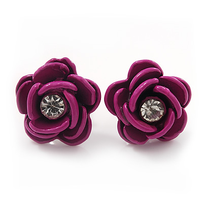 Small Deep Pink Enamel Diamante 'Rose' Stud Earrings In Silver Finish - 10mm Diameter