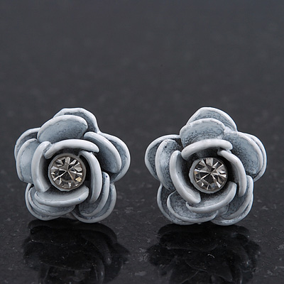 Small White Enamel Diamante 'Rose' Stud Earrings In Silver Finish - 10mm Diameter