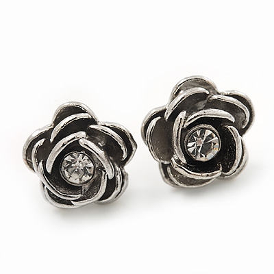 Small Silver Crystal 'Rose' Stud Earrings - 10mm Diameter