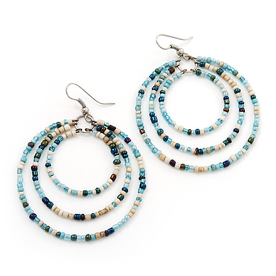 Light Blue Glass Bead Hoop Earrings In Silver Finish - 6.5cm Length
