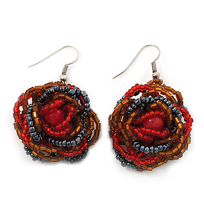 Red/Orange/Hematite Glass Bead Dimensional 'Rose' Drop Earrings In Silver Finish - 4.5cm Drop