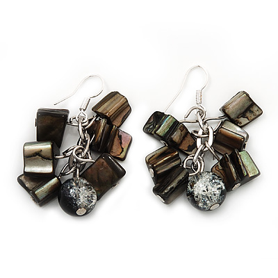 Black/Grey Shell Composite Cluster Drop Earrings In Silvertone Metal - 4cm Length