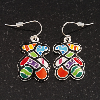 Funky Multicoloured Enamel &#039;Bear&#039; Drop Earrings In Silver Tone Metal - 3.5cm Length