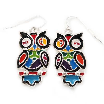 Funky Multicoloured Enamel Owl Drop Earrings In Silver Tone Metal - 4cm Length - main view