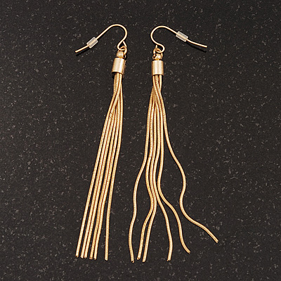 Gold Plated Long Tassel Drop Earrings - 8.5cm Length
