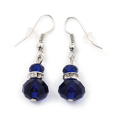 Small Navy Blue Glass Bead Drop Earrings In Silver Plating - 3.5cm Length