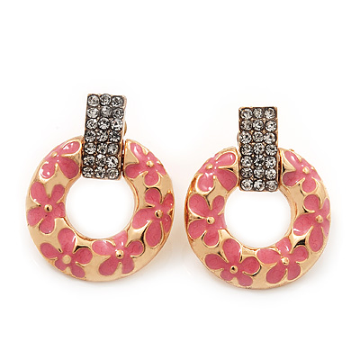 Gold Plated Pink Enamel Diamante 'Circle' Drop Earrings - 2.5cm Length