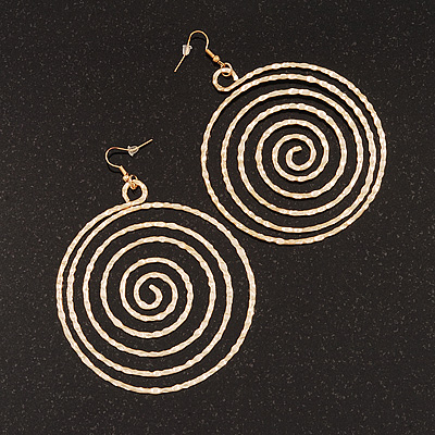 Oversized Hammered Spiral Hoop Earrings In Gold Plating - 10cm Length/ 7.5cm Diameter