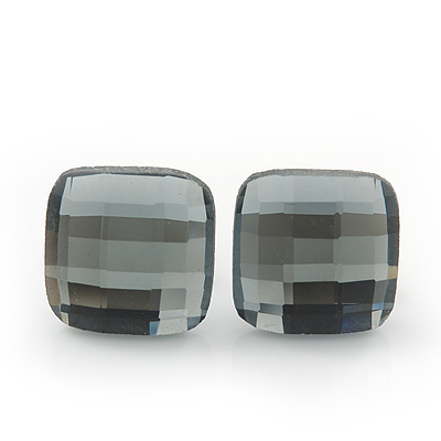 Dim Grey Square Glass Stud Earrings In Silver Plating - 10mm Diameter