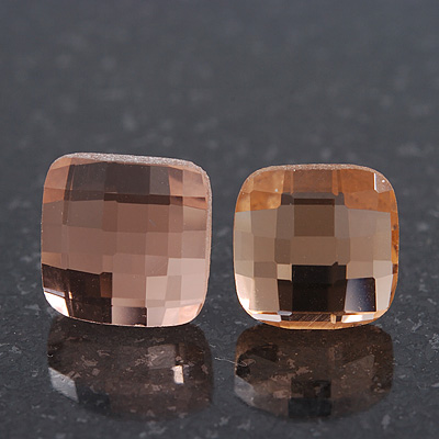 Light Peach Square Glass Stud Earrings In Silver Plating - 10mm Diameter