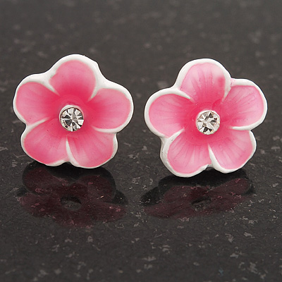 Children&#039;s Pale Pink &#039;Daisy&#039; Stud Earrings With Clear Crystal - 13mm Diameter
