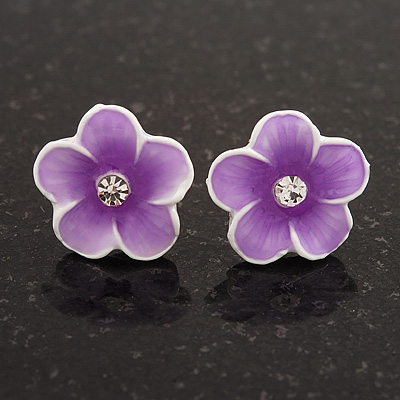 Children's Purple 'Daisy' Stud Earrings With Clear Crystal - 13mm Diameter