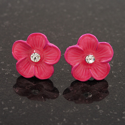 Children's Deep Pink 'Daisy' Stud Earrings With Clear Crystal - 13mm Diameter