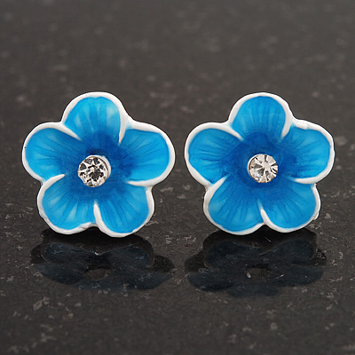 Children's Sky Blue 'Daisy' Stud Earrings With Clear Crystal - 13mm Diameter