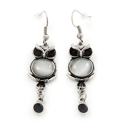 Funky Diamante 'Owl' Drop Earrings In Burn Silver Finish - 5.5cm Length