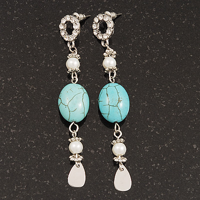 Long Turquoise & Pearl Drop Earrings In Silver Plating - 7.5cm Length