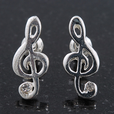 Small &#039;Treble Clef&#039; Stud Earrings In Silver Tone Metal - 18mm Length