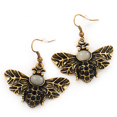 Funky Diamante 'Bee' Drop Earrings In Burn Gold Finish - 4cm Length