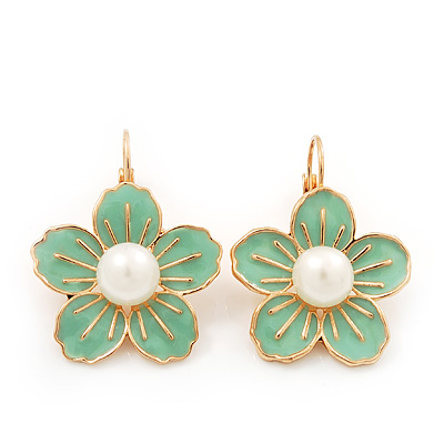Lime Enamel Faux Pearl 'Daisy' Drop Earrings In Gold Plating - 4cm Diameter