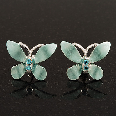 Small Mint Green Enamel &#039;Butterfly&#039; Stud Earrings In Silver Plating - 2cm Length