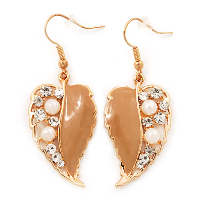 Gold Plated Beige Enamel Crystal & Pearl 'Leaf' Drop Earrings - 5cm Length