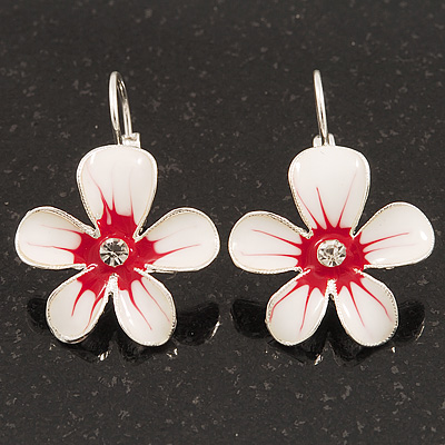 White/Red Enamel 'Flower' Drop Earrings In Silver Plating - 3cm Length