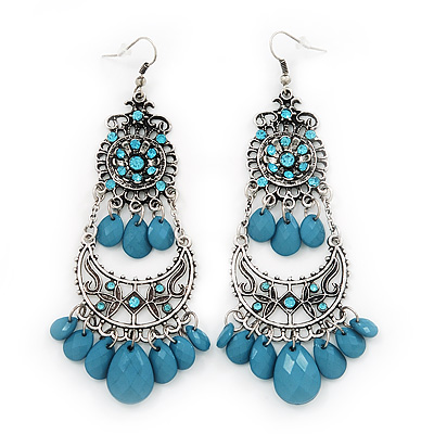 Long Blue Bead Diamante Chandelier Earring In Silver Plating - 10.5cm Drop