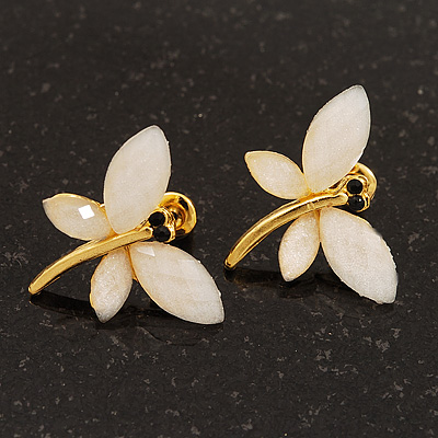 Small Ivory Acrylic &#039;Butterfly&#039; Stud Earrings In Gold Finish - 20mm Length