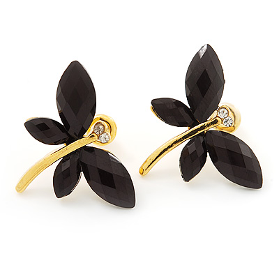 Small Black Acrylic &#039;Butterfly&#039; Stud Earrings In Gold Finish - 20mm Length