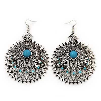 Large Filigree Sky Blue Diamante Chandelier Earrings In Burn Silver Metal - 9.5cm Length/ 6.5cm Diameter