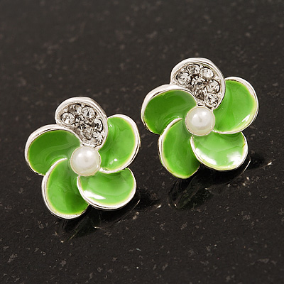 Small Lime Green Enamel Diamante 'Flower' Stud Earrings In Silver Finish - 15mm Diameter - main view