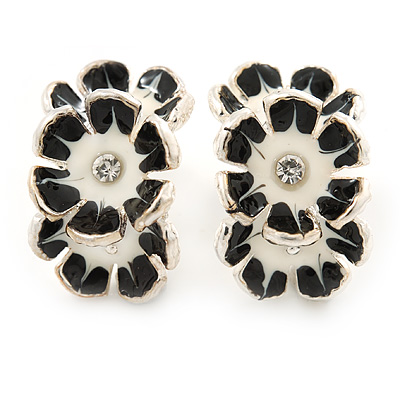 C-Shape White/ Black Enamel 'Floral' Stud Earrings In Silver Tone - 25mm L - main view