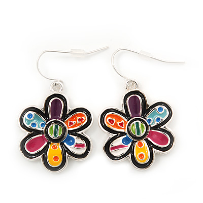 Multicoloured Enamel 'Flower' Drop Earrings In Silver Plating - 3.5cm Length