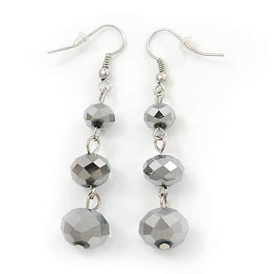 Metallic Grey Faceted Glass Bead Drop Earring In Silver Plating - 5.5cm Length