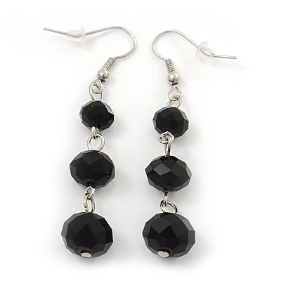 Black Faceted Glass Bead Drop Earring In Silver Plating - 5.5cm Length