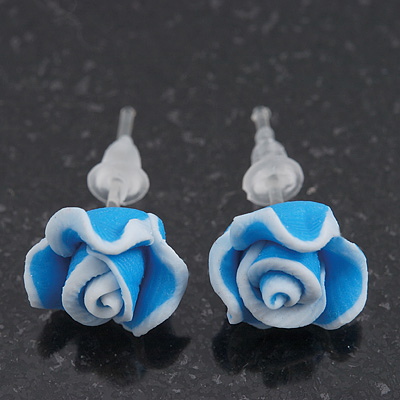 Children's Pretty Blue Acrylic 'Rose' Stud Earrings With Acrylic Backings - 9mm Diameter