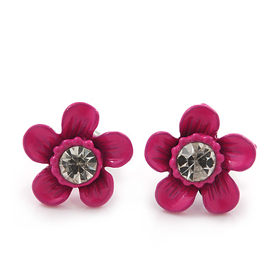 Children's Pretty Deep Pink Enamel 'Daisy' Stud Earrings - 12mm Diameter